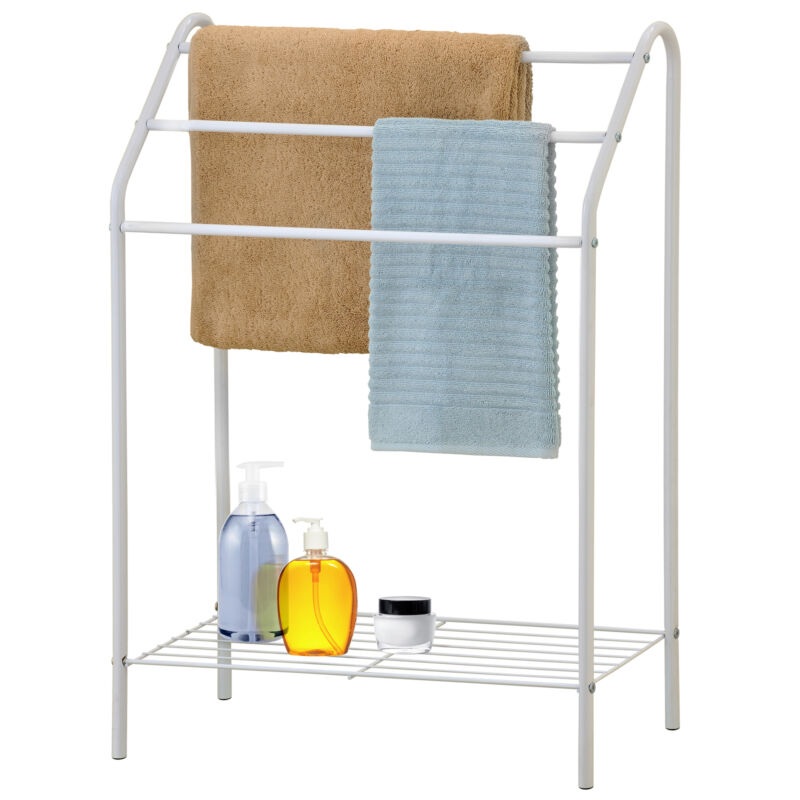 Freestanding 3 Tier Metal Towel Rack, Chrome Bathroom Towel Bar, White