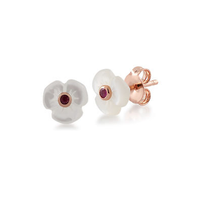 - Gemondo Rose Gold Plated Silver Mother of Pearl & Ruby Poppy Stud Earrings