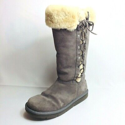 UGG Australia Size 7 US UPSIDE Tall Gray Suede Painted Lace Up Winter Boots 5163 for sale  National City