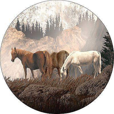 Horse #11 Horses Mountains Spare Tire Cover Jeep RV Camper Trailer(all sizes) (Tire Horse)