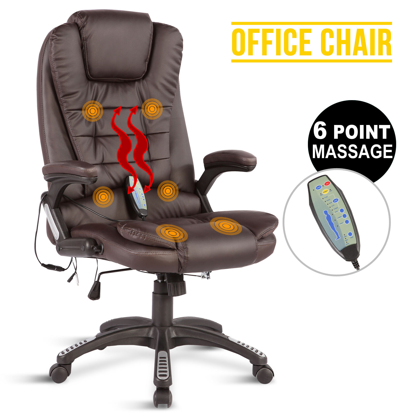 Executive Ergonomic Heated Vibrating 6 Point Massage Chair Brown