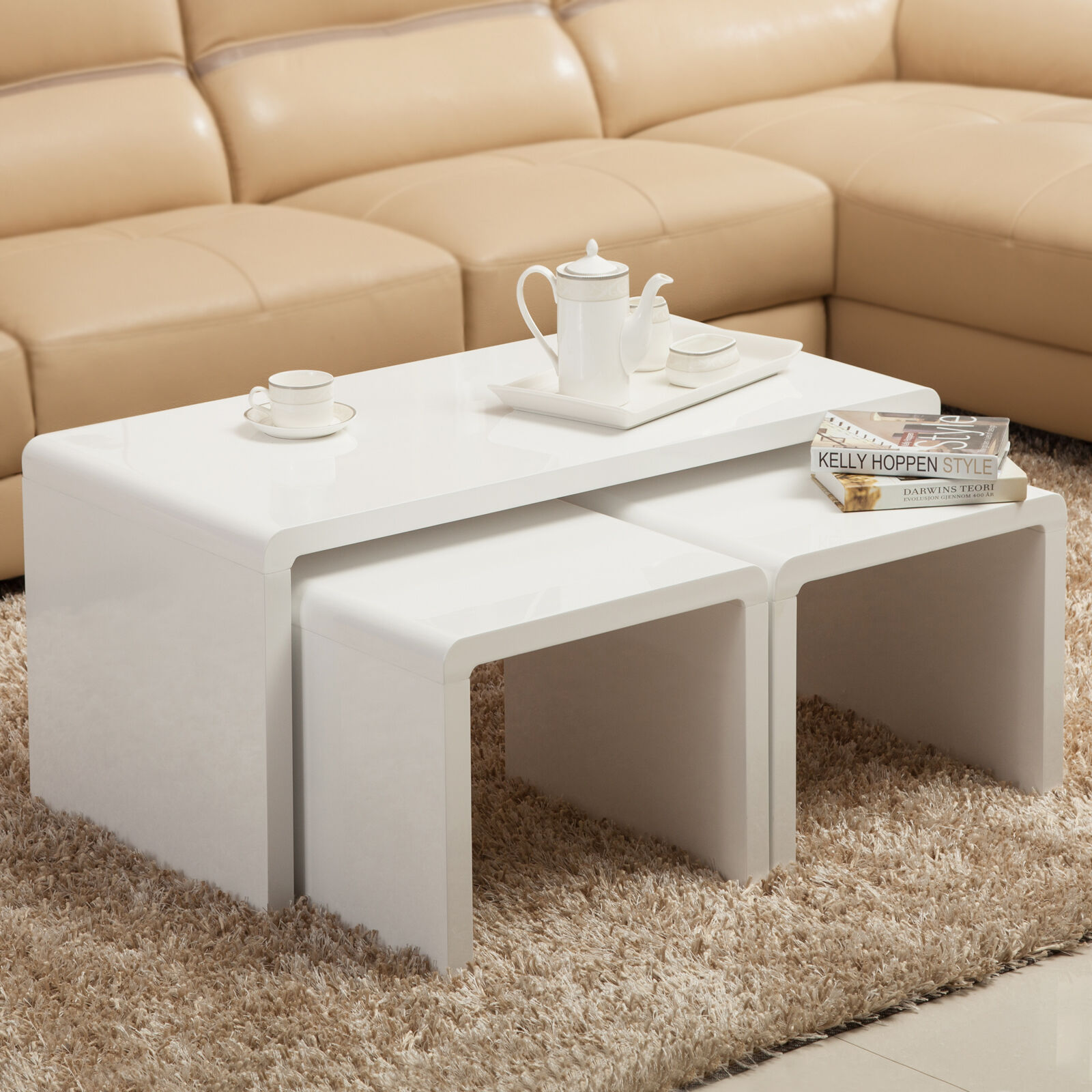 Bn high gloss white coffee table side end table set of 3 for High end coffee tables living room