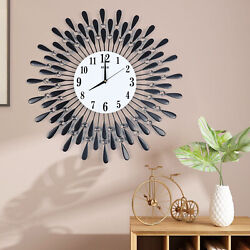 24.5'' Vintage Feather Style Wall Clock Silent Quartz Acrylic 9.5 Dial+battery