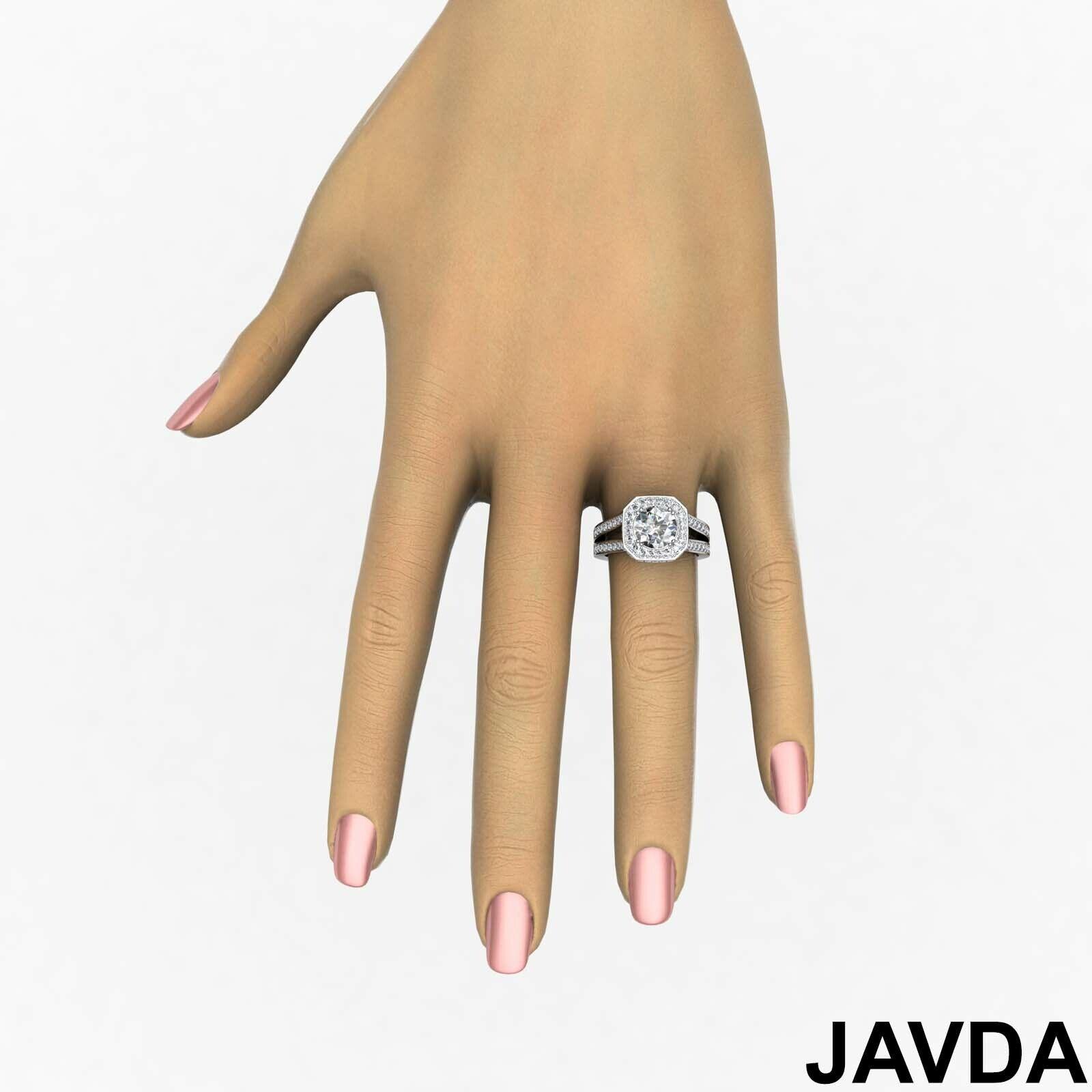 Hexagon Halo Split Shank Round Diamond Engagement Ring GIA F VS1 Clarity 2.84Ct 3