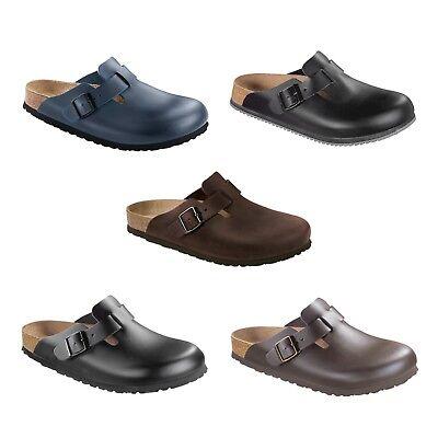 Braune Leder Clogs (Birkenstock Boston  schwarz blau braun ohne / mit  Superlaufsohle Leder Clogs)