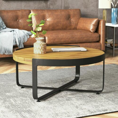 Aceston Outdoor Modern Industrial Acacia Wood Coffee Table Home & Garden