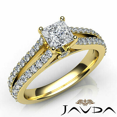 French Pave Set Princess Diamond Engagement Split Shank Ring GIA F VS1 1.15 Ct