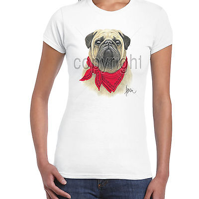 Pug Kopftuch Funny Hunderasse Damen T-shirt S-2XL