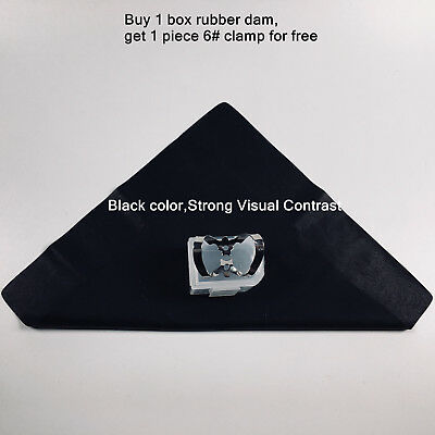 36sheet Dental Rubber Dam Natural Latex 6x6 Adult Black Free Anterior Clamp 6
