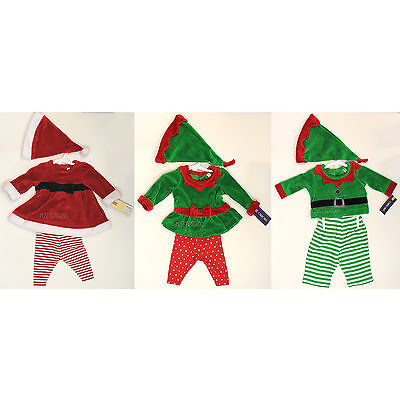 NWT Cherokee Newborn Christmas Santa Helper Elf Outfit Girl Boy Cute Costume 3pc (Cute Santa Girl Costumes)