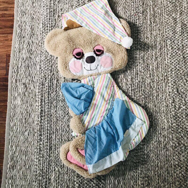 Vtg SLEEPY TEDDY Beddy BEAR PLUSH 1982 Baby Morgan Wall Hanging Decor Nursery