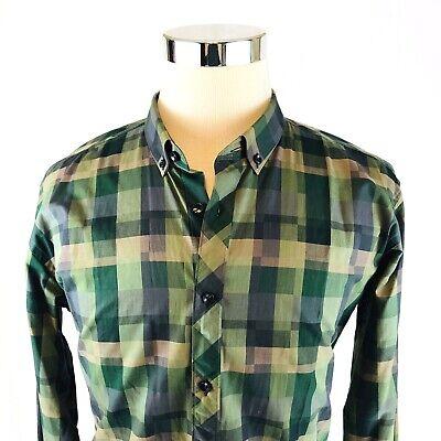 Jared Lang Green Big Check Button Down Long Sleeve Sport Shirt Mens XL