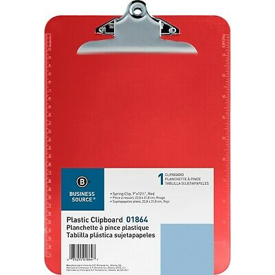 Business Source Spring Clip Plastic Clipboard Red - 1 Each Bsn01864