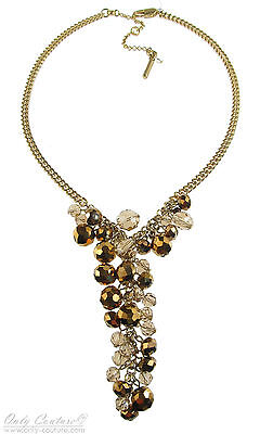 Kenneth Cole New York 'Modern Vintage' Bronze Cherry Bead Y Cluster Necklace NEW