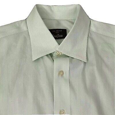 Ike Behar Neiman Marcus Sage Striped French Cuff Dress Shirt 16.5 36 Green