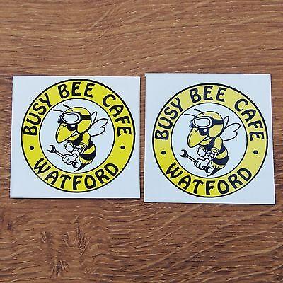 Two Motorcycle Biker Helmet Tank Cafe Racer Stickers BUSY BEE CAFE WATFORD bsa