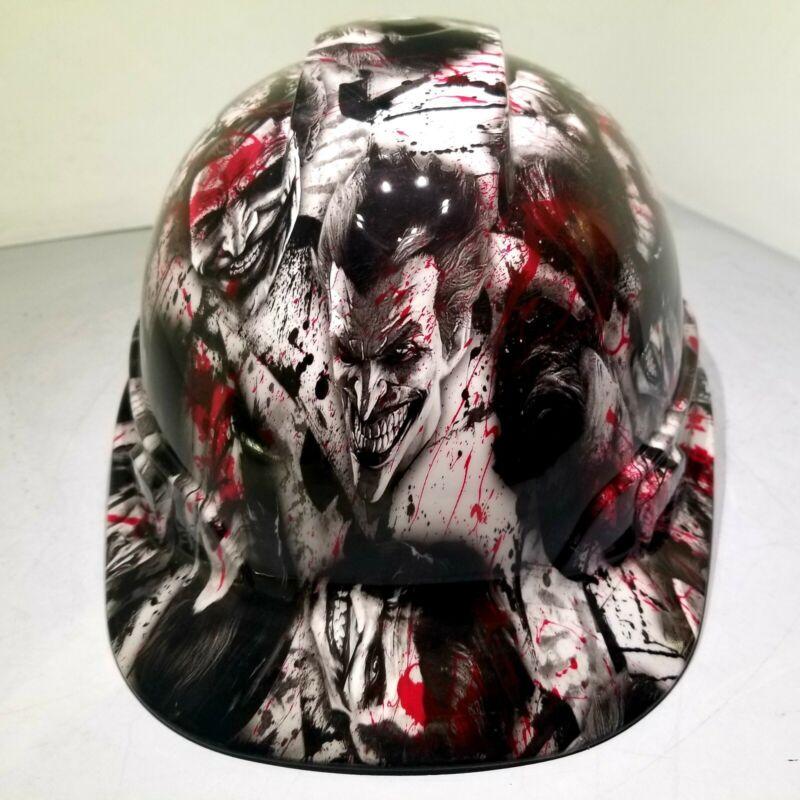 Hard Hat custom hydro dipped , OSHA approved CAP STYLE, BLOODY SINISTER JOKER
