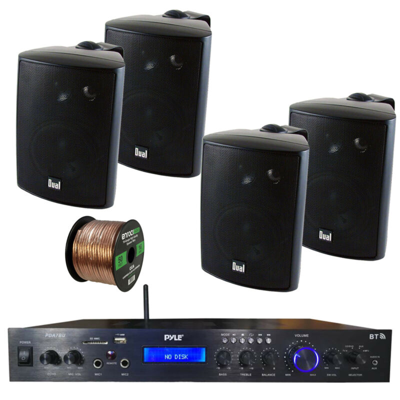 Home Amplified Bluetooth MP3 Receiver, 4x Indoor Black Speakers, 16-G 50 Ft Wire
