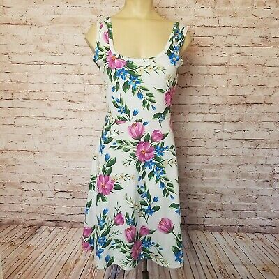 Herou Womens Size S Fit N Flare Summer Tank Skater Dress Floral White Purple