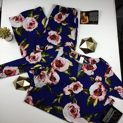 IMAN Global Luxury Resort Tunic Palazzo Pant Set Knit Navy Floral S NEW 528-270