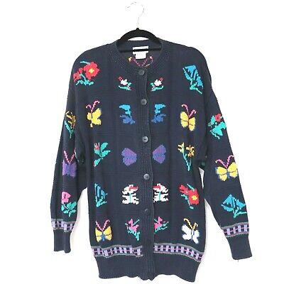 80s Sweatshirts, Sweaters, Vests | Women Capricci Vintage Cardigan Cotton Knit Jumper Floral 80s Cottagcore Size 12 14 $36.38 AT vintagedancer.com