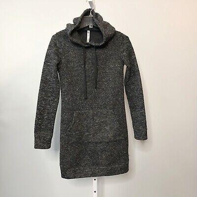 Fabletics Yukon Sweatshirt Dress Size XS Hoodie Marled Knit Long Sleeve Gray