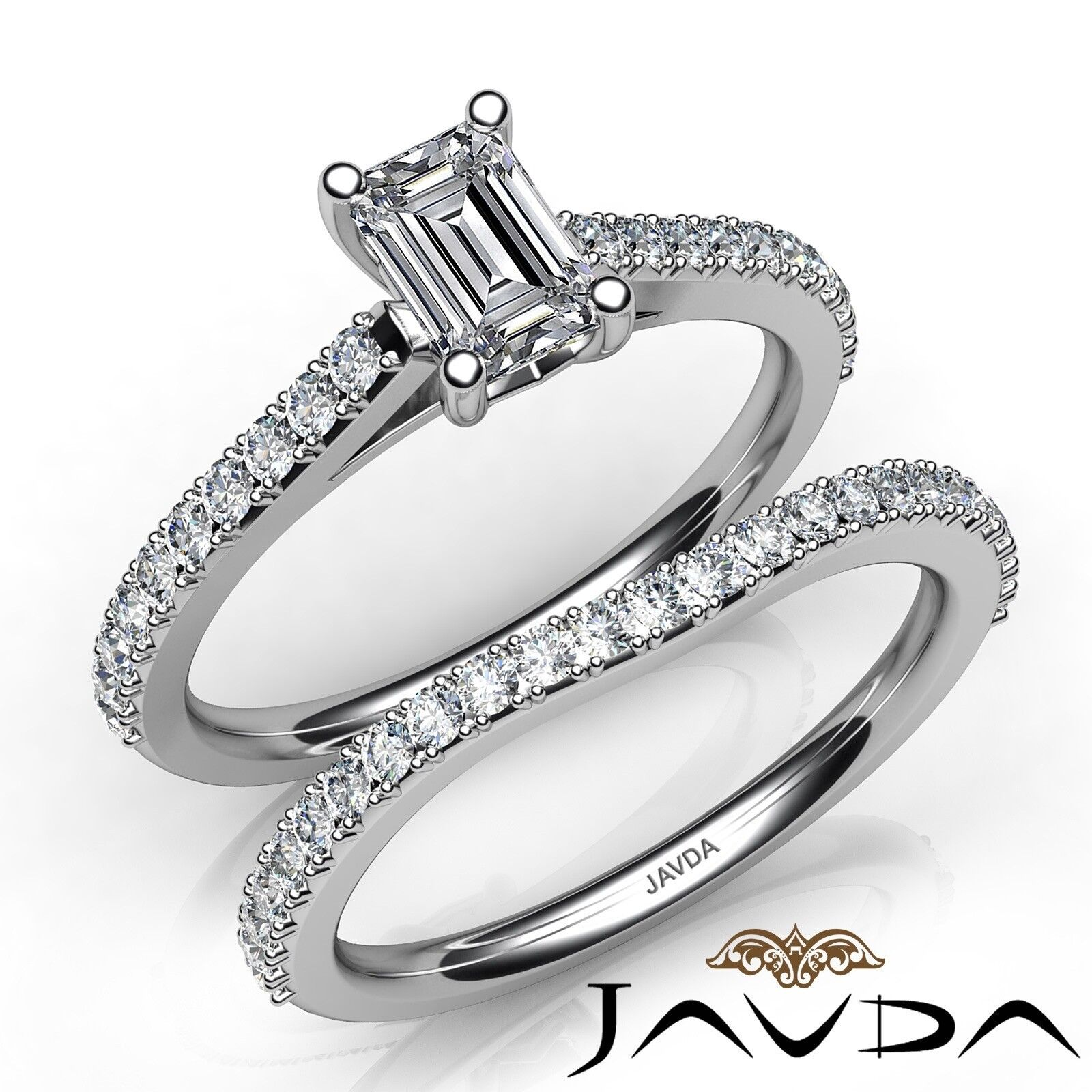 1.35ctw Prong Set Side Stone Bridal Emerald Diamond Engagement Ring GIA F-VVS2