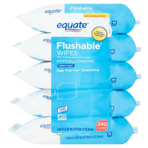 Equate Flushable Wipes,Fresh Scent,5 packs of 48 wipes,240 wipes.FREE SHIPPING