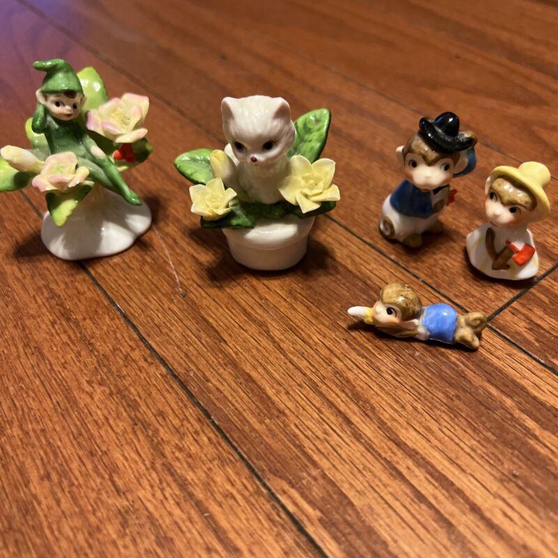 napco bone china figurines set of 5.miniature Sizes . No Damage , Mint Condition