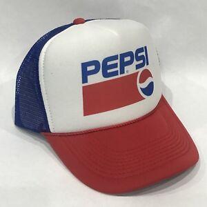 Pepsi Cola Soda Pop Trucker Hat Vintage 90 s Style Mesh Back Snapback Cap!  RWB bd8ab807319f
