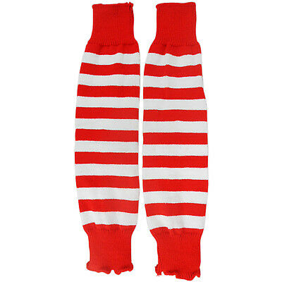 NEW WOMEN LADIES WHITE RED STRIPED LEG WARMERS FANCY DRESS DANCE BALLET PARTY - Red And White Striped Leg Warmers