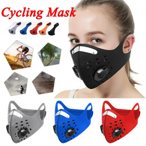 1pc Sport Cycling Face Mask With Active Carbon Filter Breathing Valves Washable