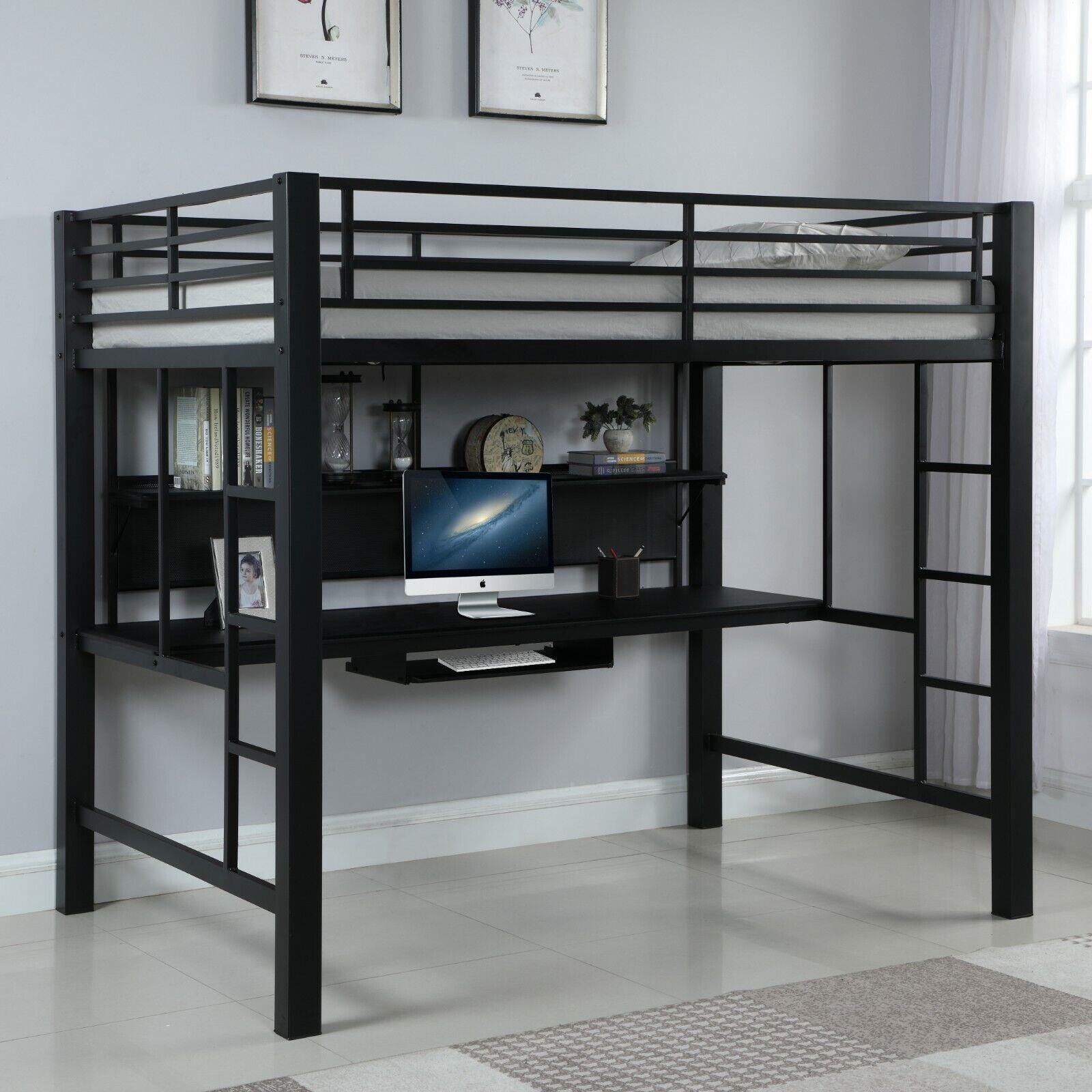 Modern Adult & Teen Heavy Duty Metal Workstation Loft Bunk Bed Full Size - Black
