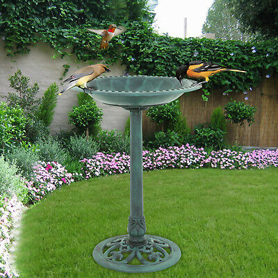 "Birdbath 28"" Height Pedestal Bird Bath  Outdoor Garden Decor Vintage Yard Art"