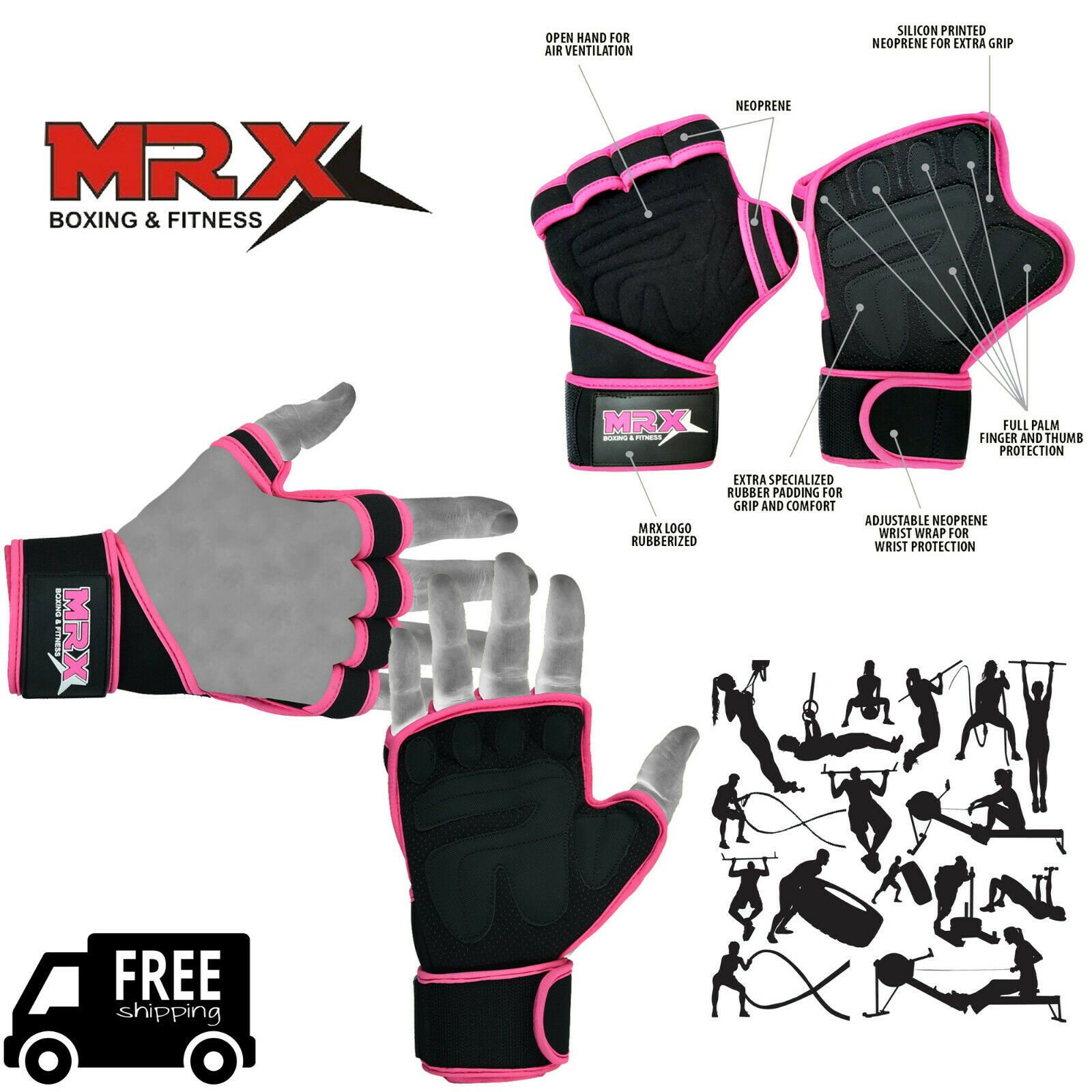 MRX Weight Lifting Gloves Women Training Gym Straps Fitness