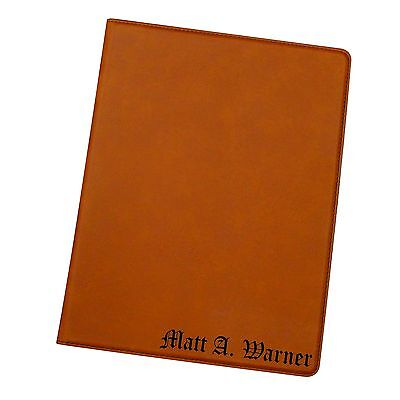 Engraved Custom Business Portfolio With Rust Leather Monogrammed Journal Notepad