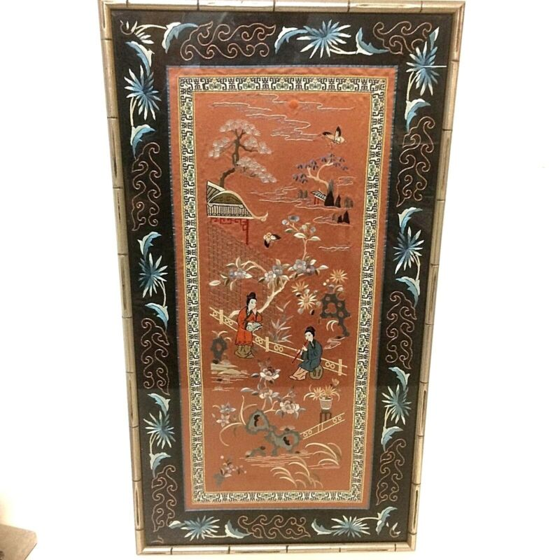 Vintage Chinese Embroidery Framed With Character Scene And Landscape Decoration