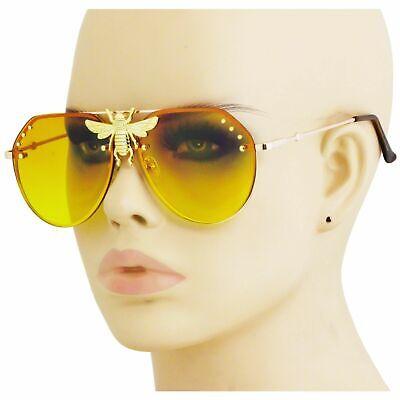 Big Bee Moth Aviator Sunglasses Metal Frame Retro Orange Yellow Gradient Shades ()