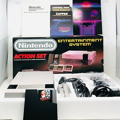 New Open Box Nintendo NES Action Set System In Box With Mario Bros and Manuals
