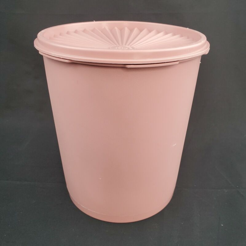 VTG Tupperware Servalier 12 Cup Canister With Lid Vintage Mauve Dusty Rose 807