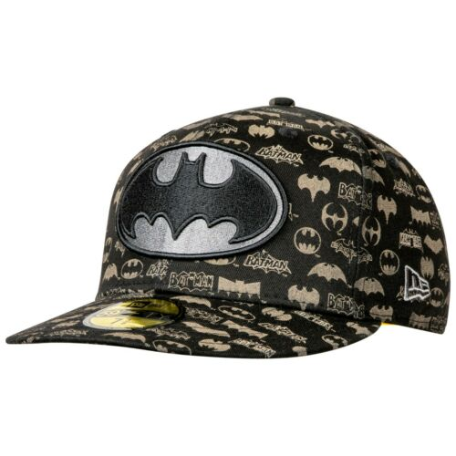 Batman New Era Laser Etched All Over Logos 59Fifty Hat Black