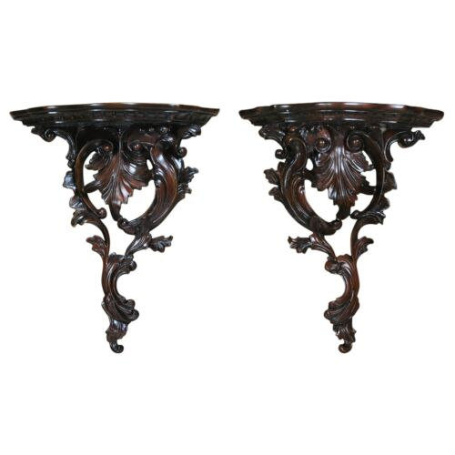 NSI157, Niagara Furniture, Pair of Carved Wooden Wall Sconces