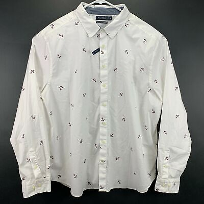 Nautica Mens Mini Anchor Print Button Down Shirt White 3XL