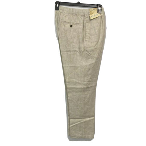 Caribbean Roundtree & Yorke Mens Linen Pants Stretch Waist 38×34 Khaki Beach Clothing, Shoes & Accessories