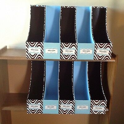 Set Of 10 Blue Brown White Magazine File Holder Collection Home Office Organizer