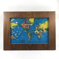 Vintage Howard Miller '59 World Time Zone Map Electric Clock Light TESTED 612408