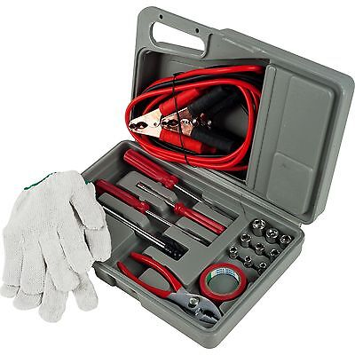 30 Piece Emergency Set - 30 Piece Roadside Emergency Auto and Tool Kit -Battery Jumper Cables (Set of 2)