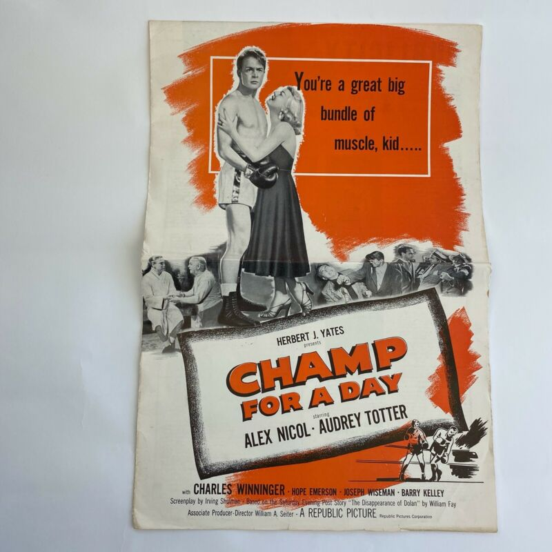 Vintage Movie Pressbook Champ For A Day 1953 Alex Nicol Audrey Totter Boxing