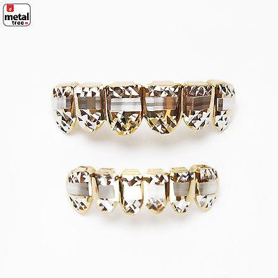 Herren Grillz 14k Vergoldet Diamantschliff Schlicht Oberteil & Shorts Zähne (Grillz Gold Diamant Zähne)