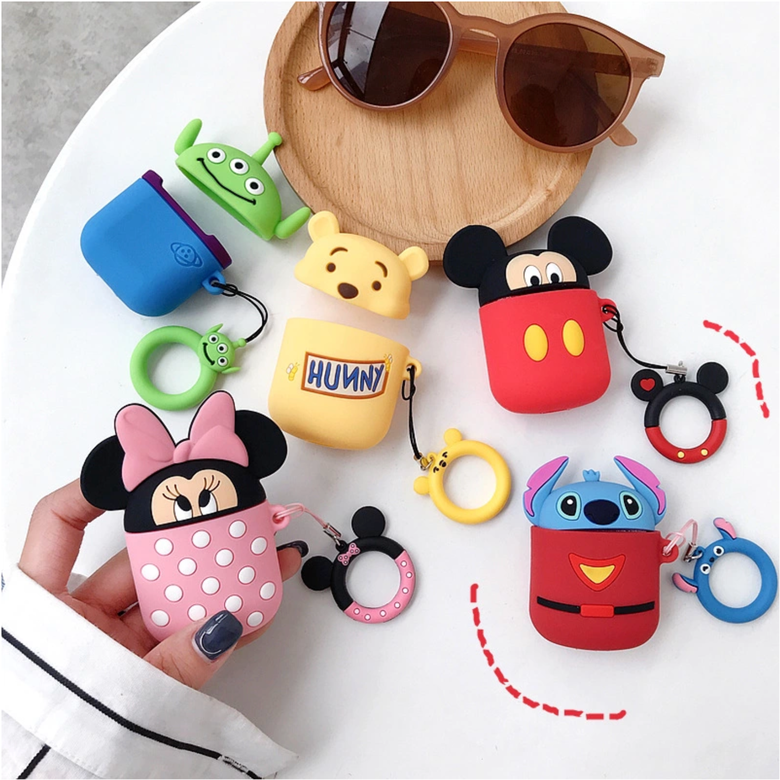 Disney Case for Apple Airpods Charging Cover Anti-lost Ring